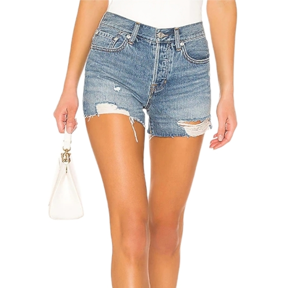 Free People Sofia Distressed Cutoff Denim Shorts